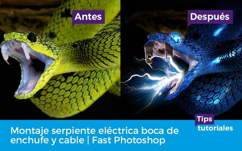 Montaje serpiente eléctrica boca de enchufe y cable | Fast Photoshop